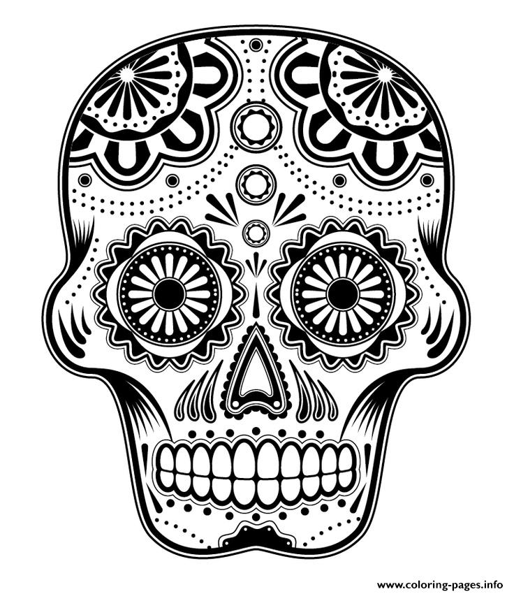 sugar skull hd new hard coloring pages - Hard Coloring Pages