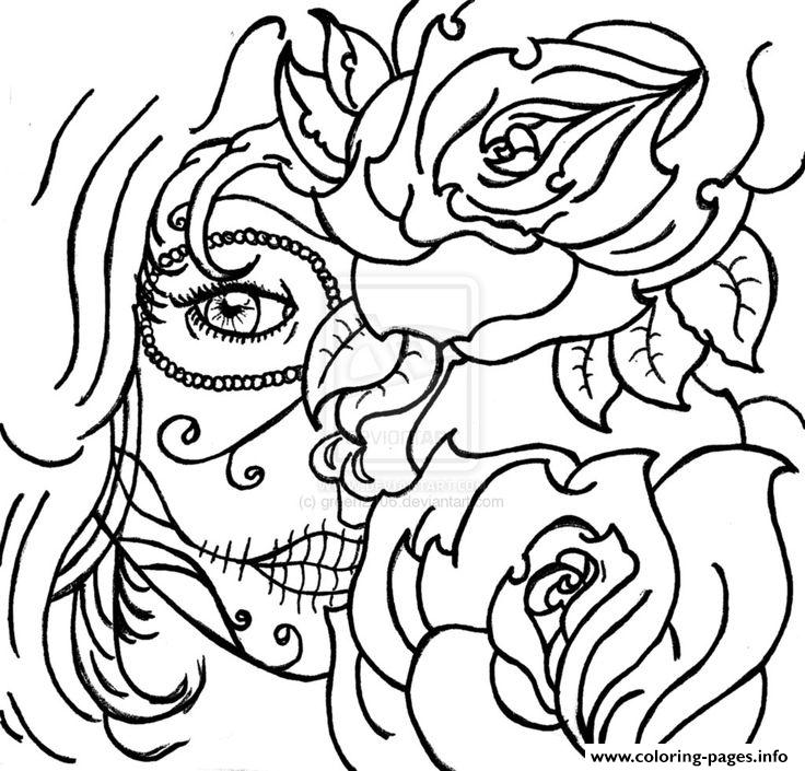 sugar skull woamn flowers cool coloring pages