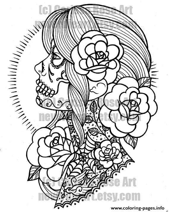 - Woman Sugar Skull Flowers Coloring Pages Printable