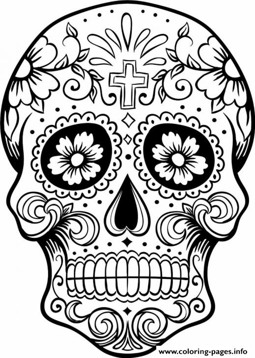 photo relating to Printable Sugar Skulls named Intricating Sugar Skull Printable For Grown ups Coloring Webpages