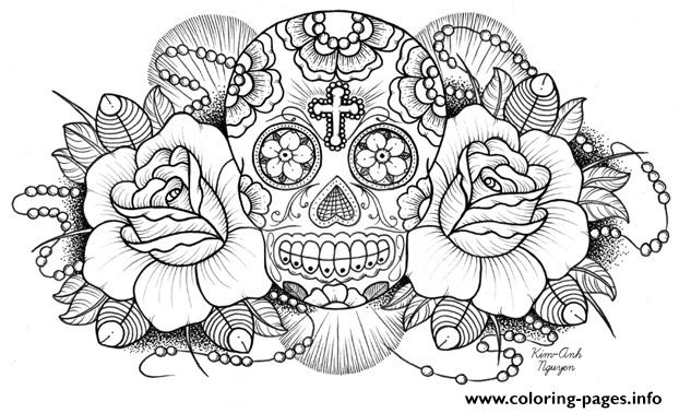 sugar skull roses w cross coloring pages - Sugar Skull Coloring Page
