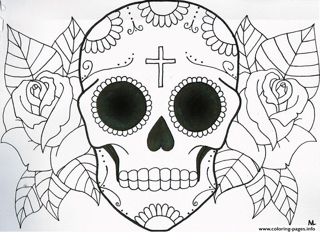 sugar skull coloring pages free download printable - Sugar Skull Coloring Pages Print