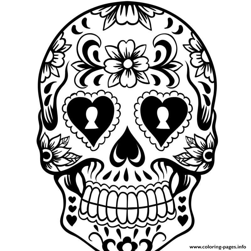 day of the day sugar skull coloring pages printable - Sugar Skull Coloring Pages Print