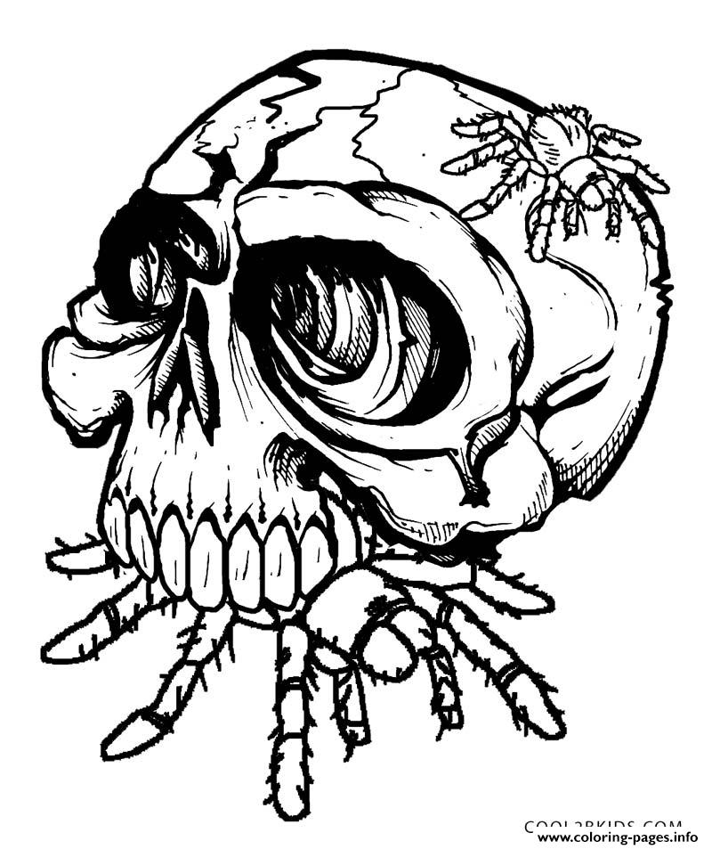 Skulls Eat Spider Coloring Pages Printable