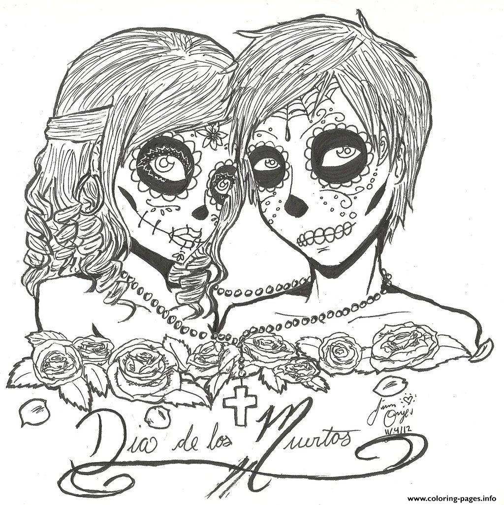skull sugar couples love coloring pages printable
