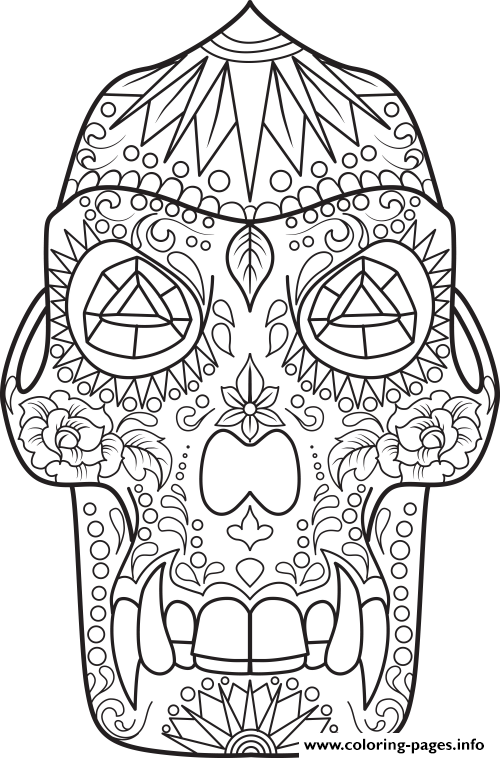 Sugar Skull Dino coloring pages
