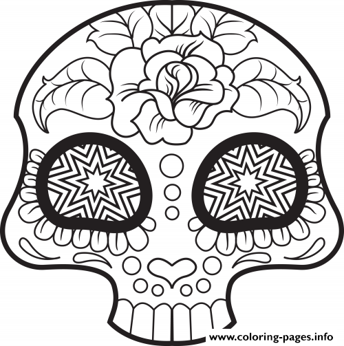 Mini cute sugar skull coloring pages printable for Printable sugar skull coloring pages