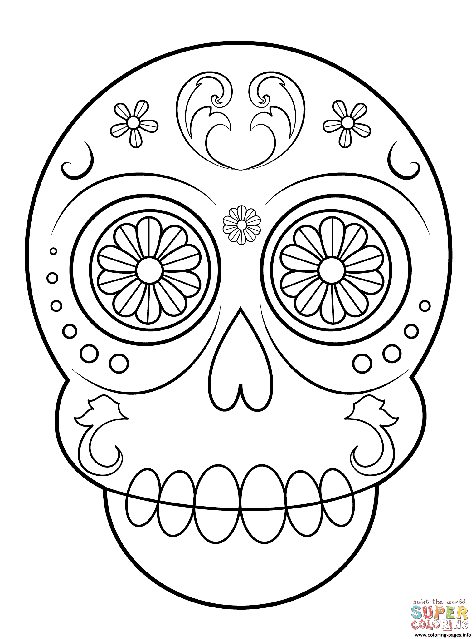Sugar skull simple easy coloring pages printable Easy coloring books for adults