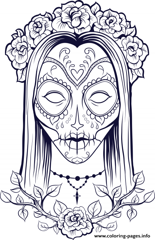 Sugar Skull Woman Flowers Old coloring pages