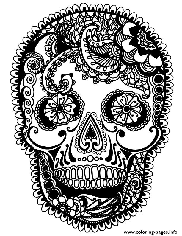 skully sugar skull coloring pages - Sugar Skull Coloring Page