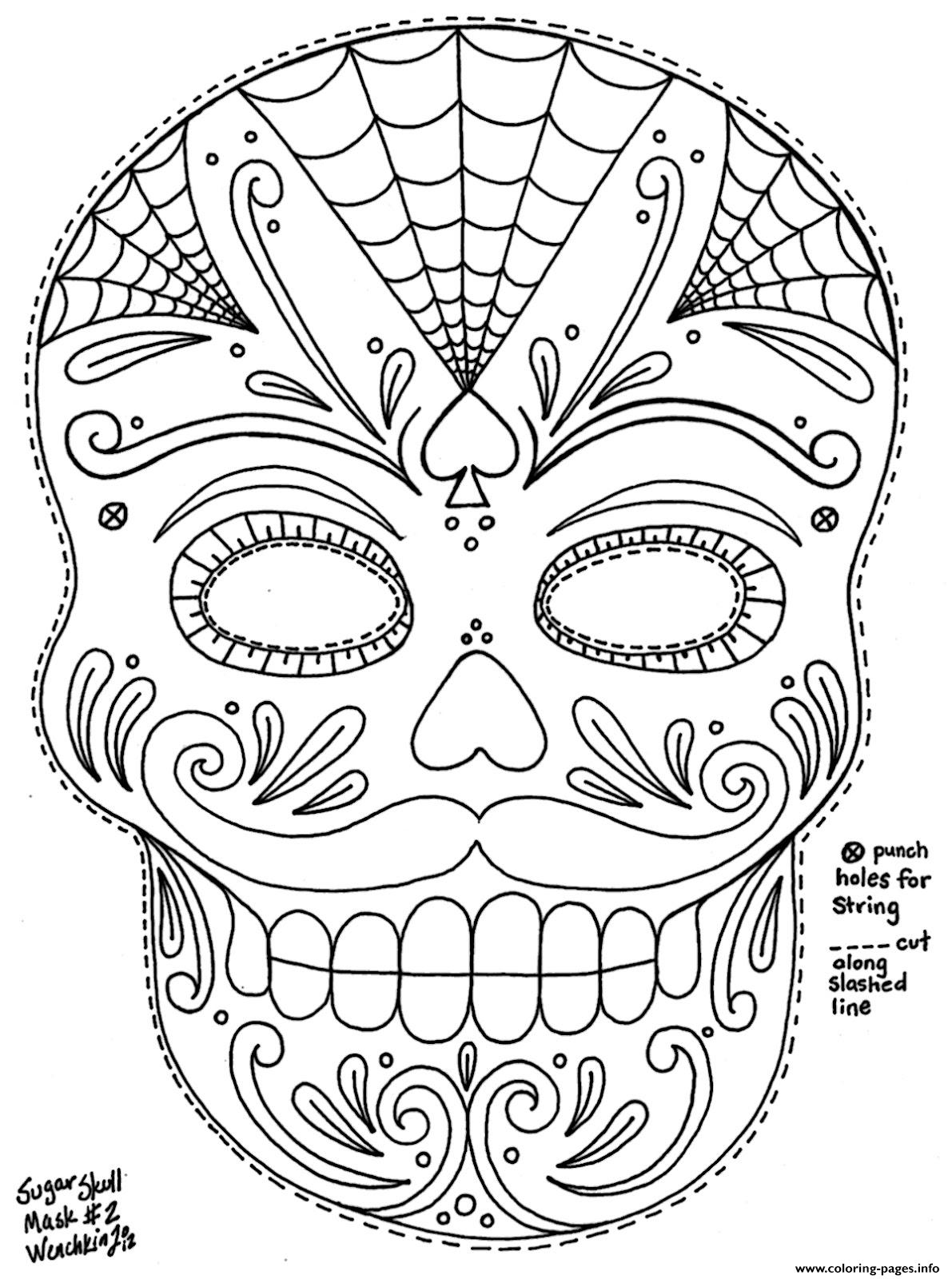 Sugar Skull With Roses Coloring Pages Coloring Coloring Pages