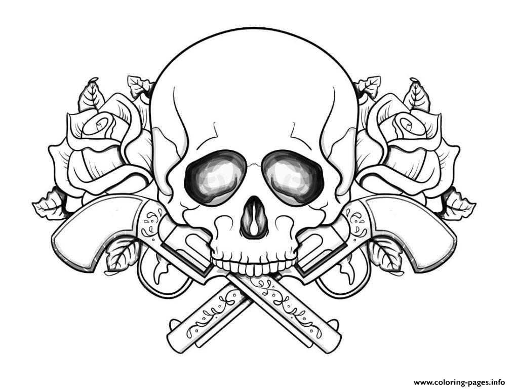 - Skull With Guns Flowers Coloring Pages Printable