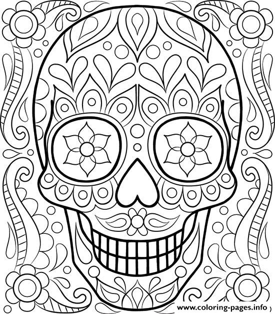 Sugar Skull Day Of The Dead Coloring Pages
