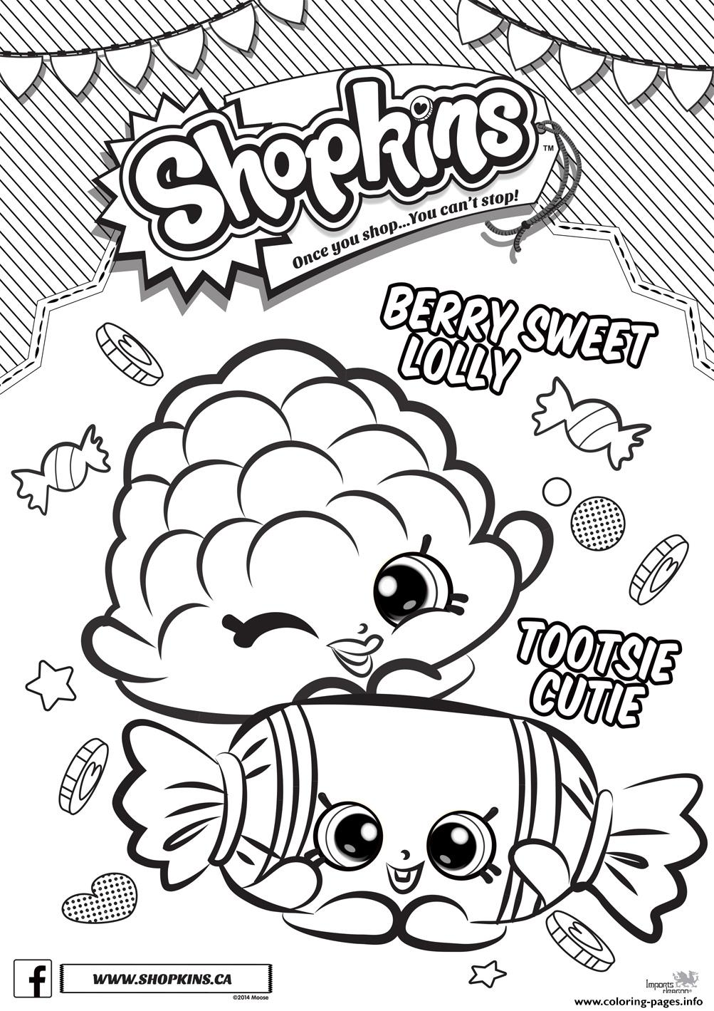 photograph regarding Free Printable Shopkins Coloring Pages titled Shopkins Berry Adorable Lolly Tootsie Cutie Coloring Webpages