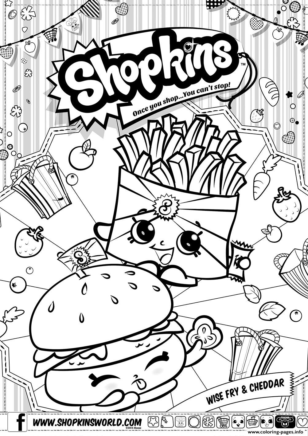 shopkins wise fry cheddar coloring pages printable