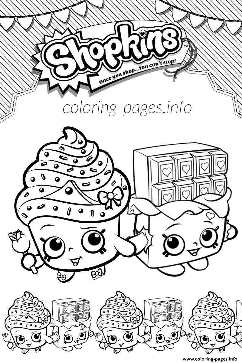 Shopkins Cupcake Queen Cheeky Chocolate Love coloring pages