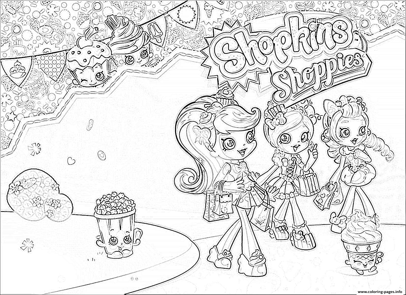 Shopkins color sheets - 2 Shopkins 2016 Sneaky Kooky Cookie Coloring Pages