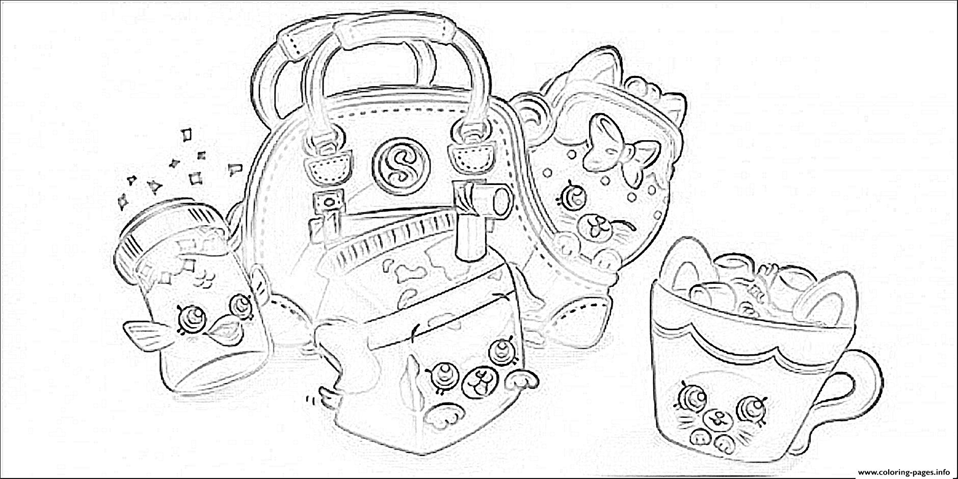 Cute Shopkins Bags coloring pages