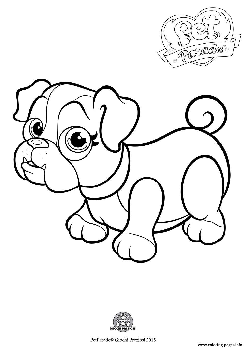 Pet Parade Cute Dog Bouledogue 1 Coloring Pages Printable