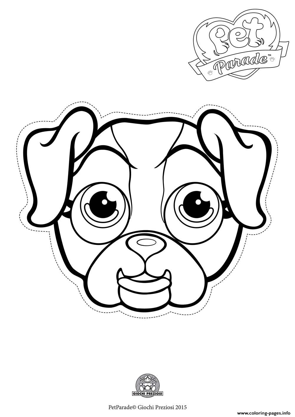 Pet Parade Cute Dog Bouledogue 2 Coloring Pages Printable