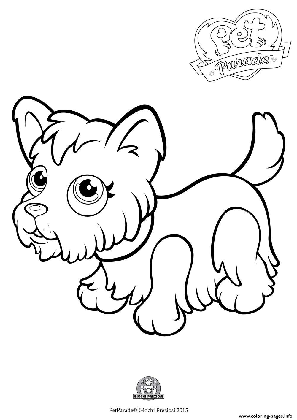 Pet Parade Cute Dog Yorkshire coloring pages