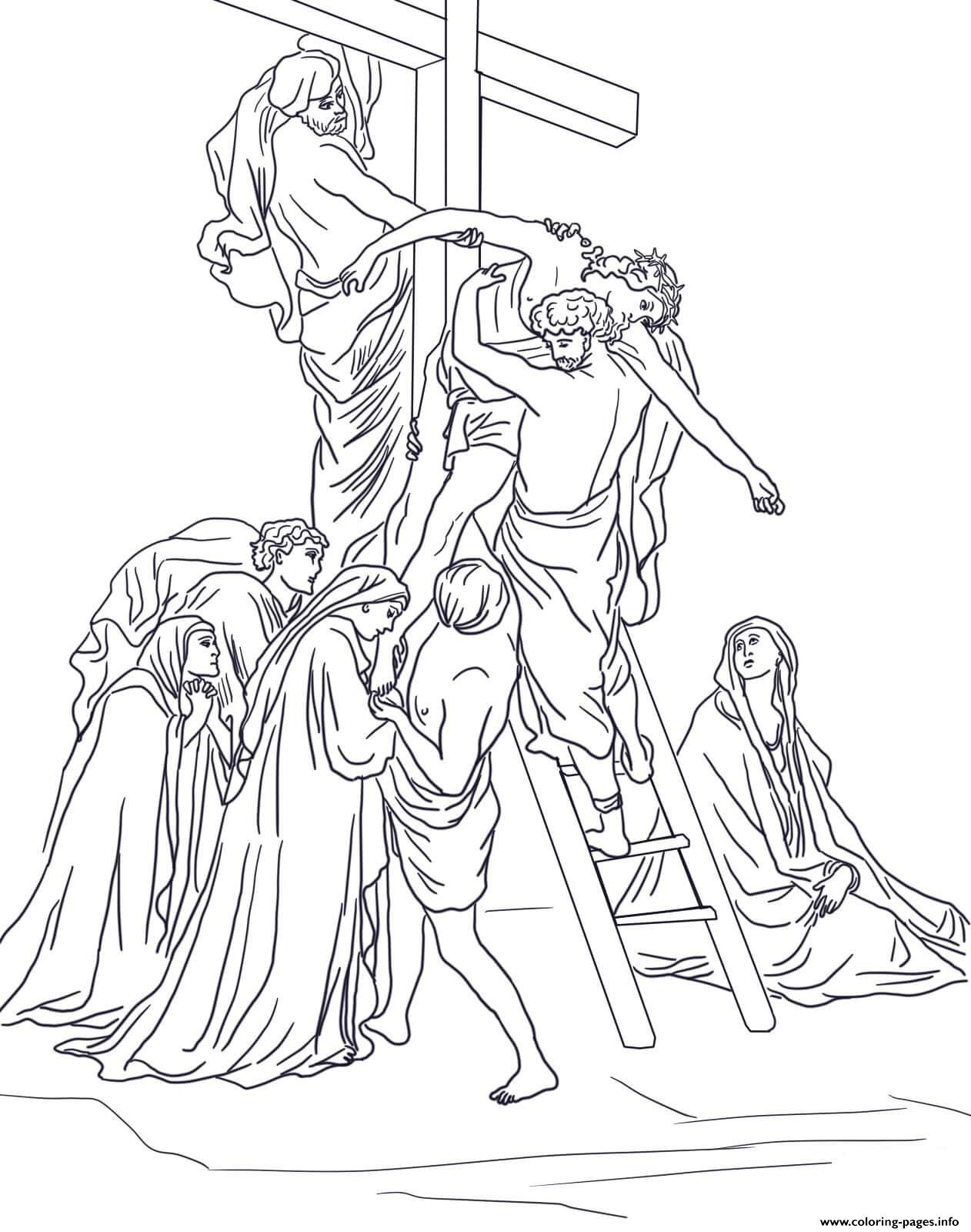 Good Friday 13 Thirteenth Station Jesus Is Taken Down From The Cross By Gustave Dore coloring pages