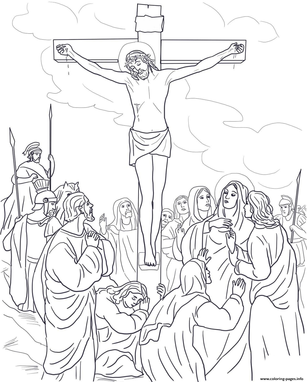 good friday 12 twelfth station jesus dies on the cross coloring