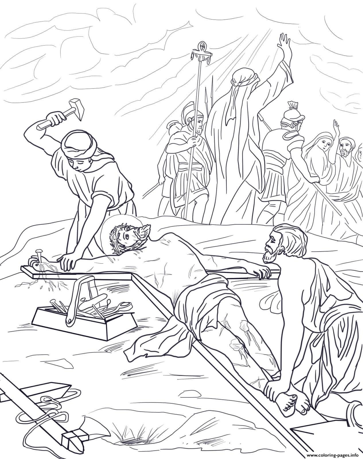 Good Friday 11 Eleventh Station Jesus Is Nailed To The Cross Coloring Pages