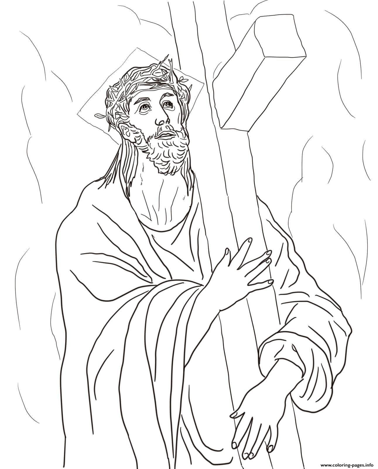 Good Friday 2 Second Station Jesus Carries His Cross By El Greco Coloring Pages