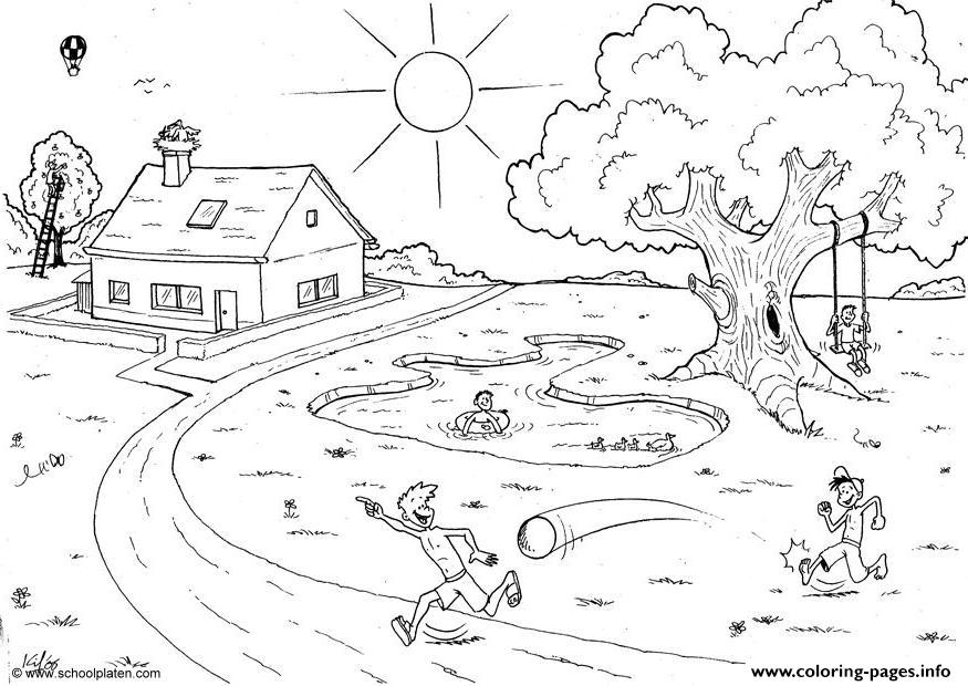 Garden In A Summer Day9 Coloring Pages Printable