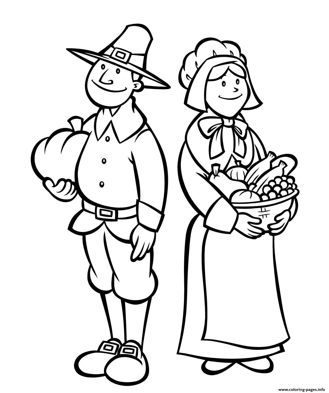 Printable Thanksgiving S Pilgrimsc506 coloring pages