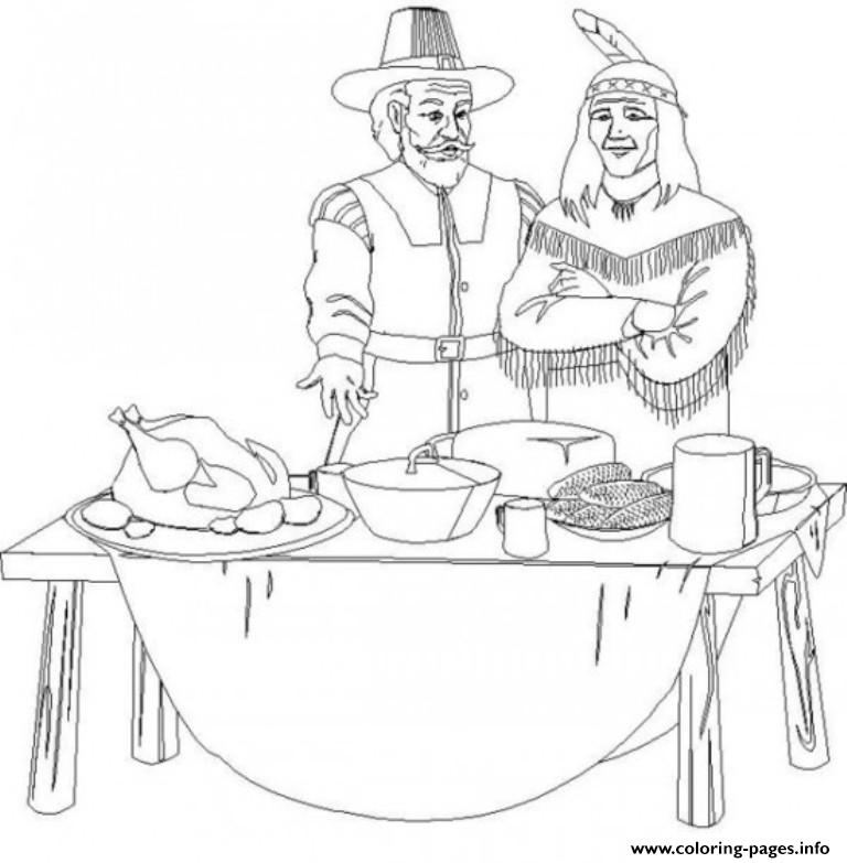 Pilgrim And Indian Thanksgiving S Children34cb coloring pages