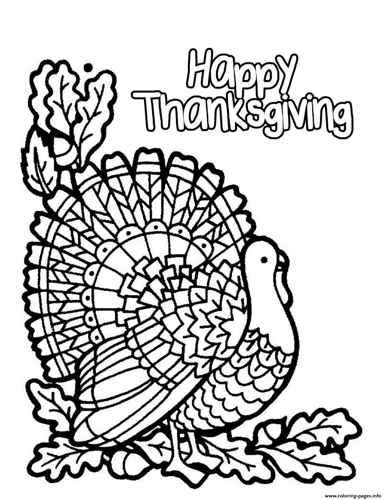 Turkey Happy Thanksgiving S To Printc461 Coloring Pages Printable