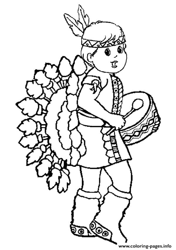 Little Red Indian Girl Thanksgiving S8d9e Coloring Pages