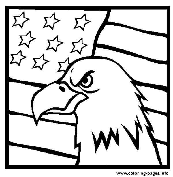 coloring pages eagle with flag - photo#8