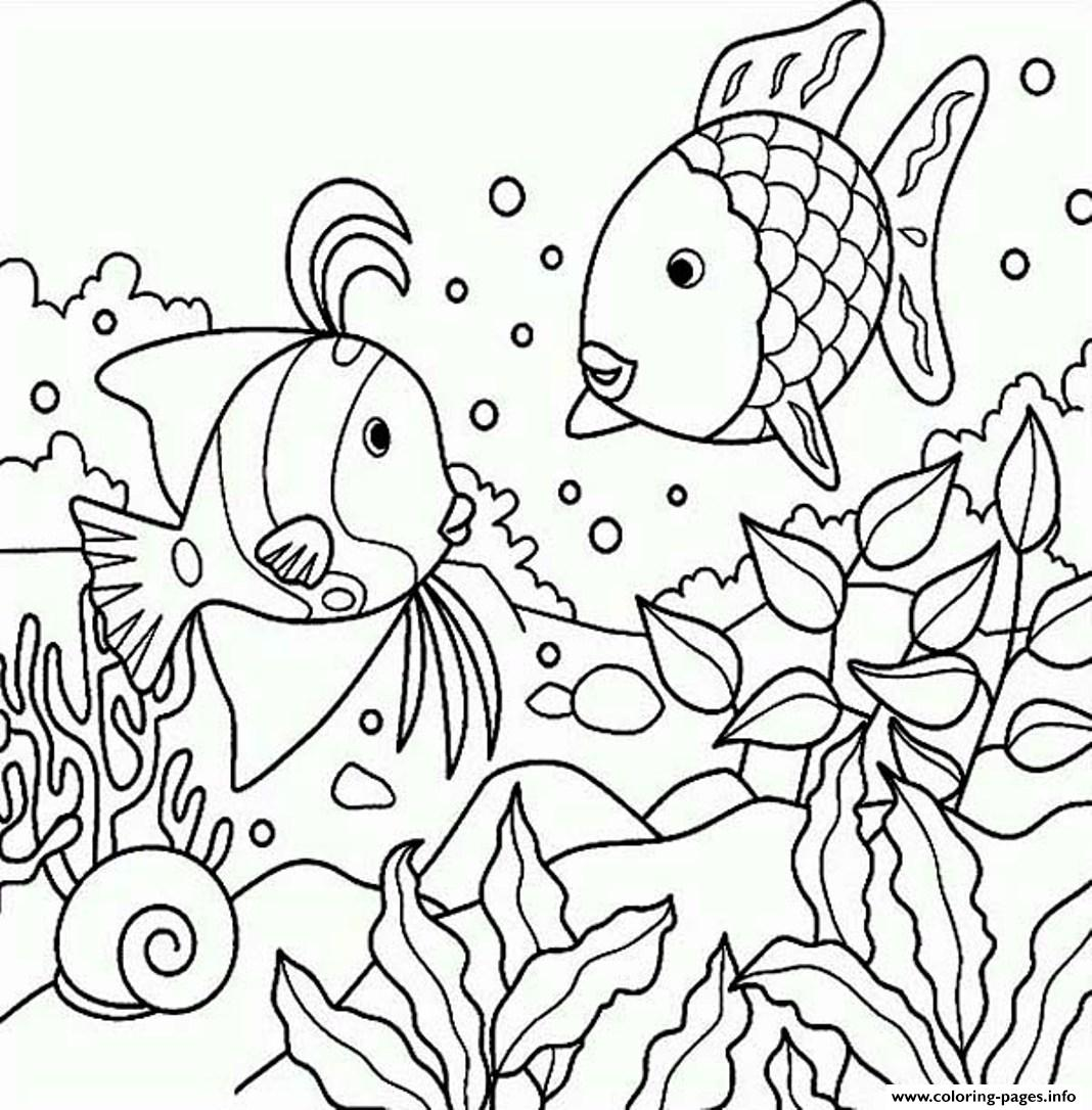 Rainbow Fish S Of Sea Animalsf3b1 Coloring Pages Printable