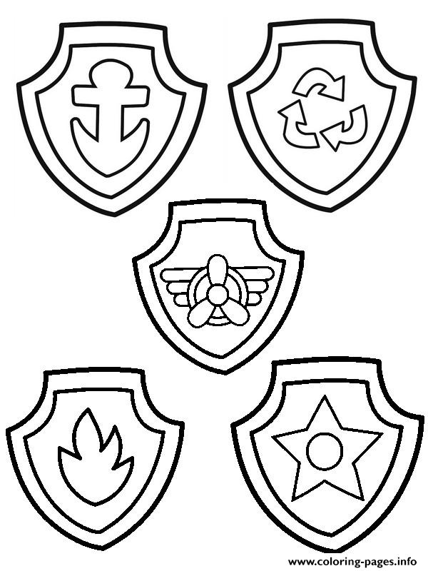 Paw Patrol Badge Coloring Pages Printable