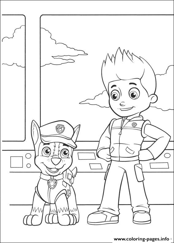Paw Patrol Ryder Coloring Pages To Print : Paw patrol chase and ryder coloring pages printable