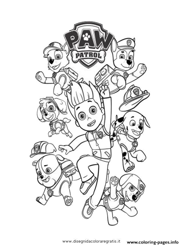 paw patrol ryder and the dogs Coloring pages Printable