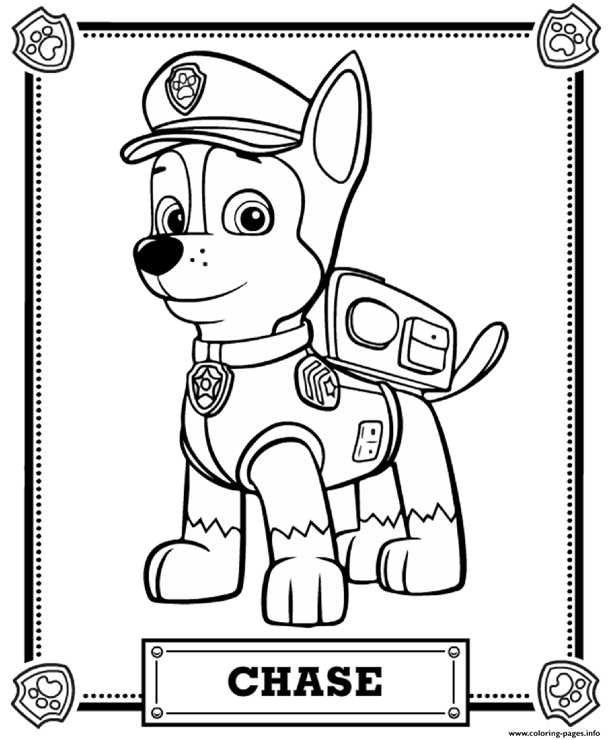 photograph about Paw Patrol Printable Pictures named Paw Patrol Chase Coloring Webpages Printable