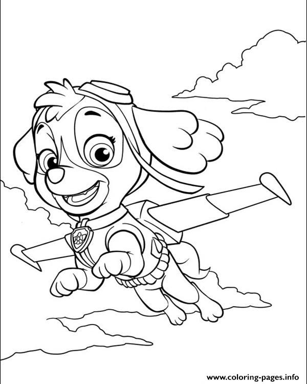 Paw Patrol Skye Is Flying Coloring