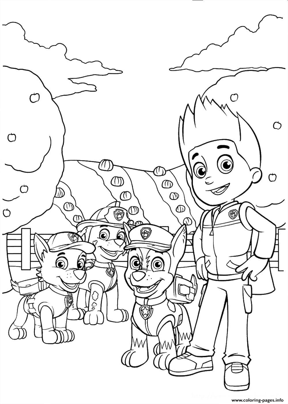 Paw Patrol Ryder With Chase Rocky coloring pages