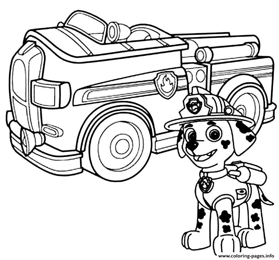 paw patrol marshal firefighter truck coloring pages