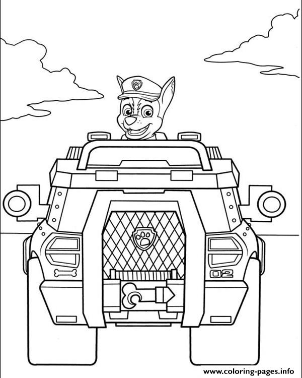 Paw Patrol Chase Is Driving A War Truck coloring pages