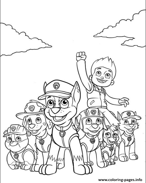 Paw Patrol Ryder Coloring Pages To Print : Paw patrol ryder and his powerful team coloring pages