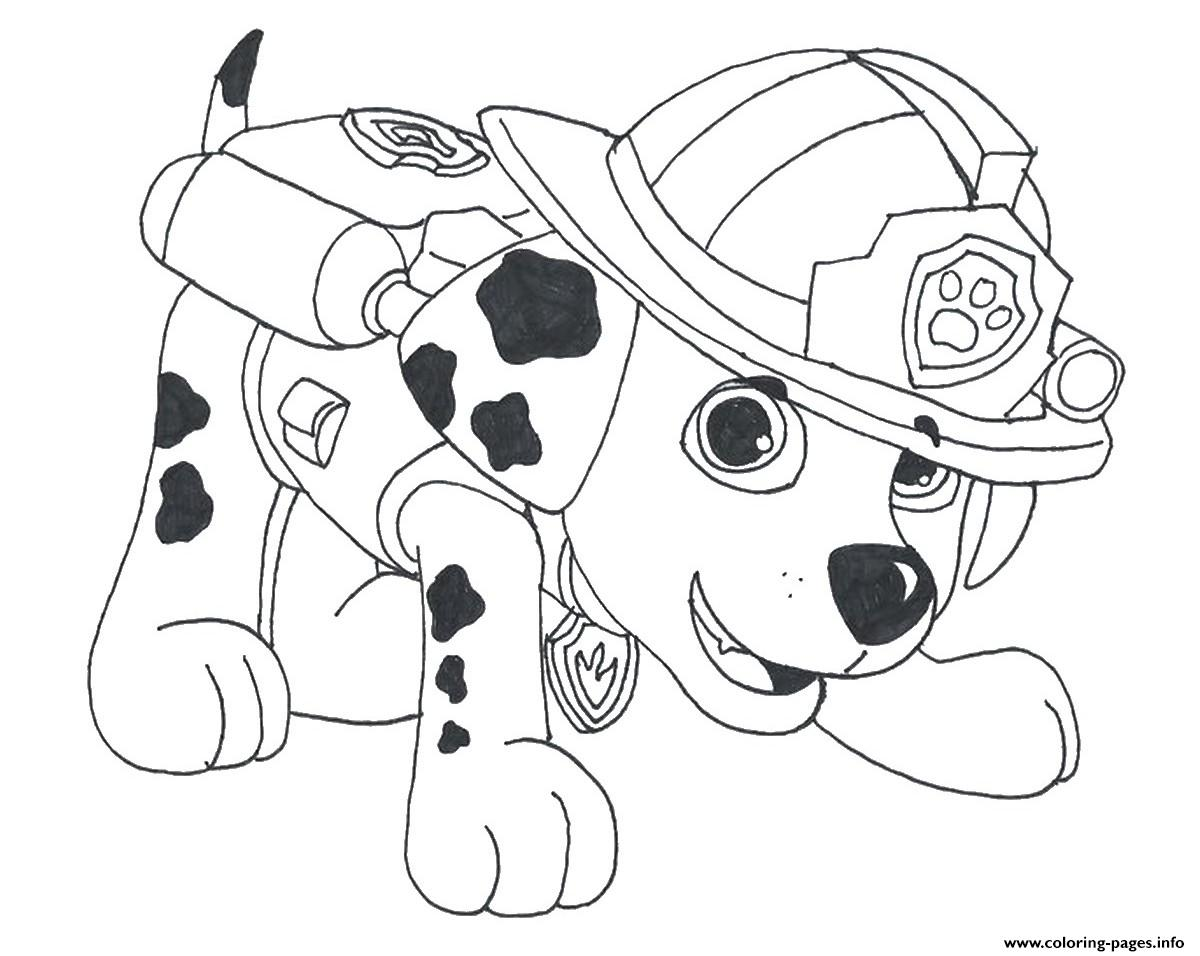 Paw Patrol Marshall Draw 2 Coloring Pages Printable