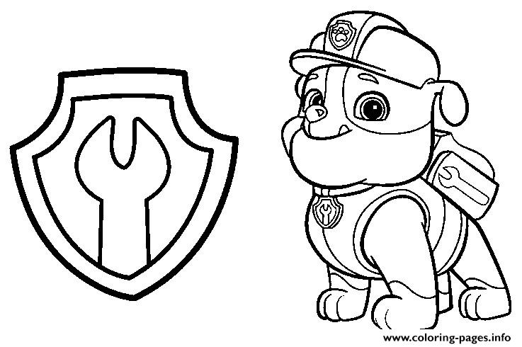 picture about Paw Patrol Printable known as Paw Patrol Rubble Mechanic Badge Coloring Web pages Printable