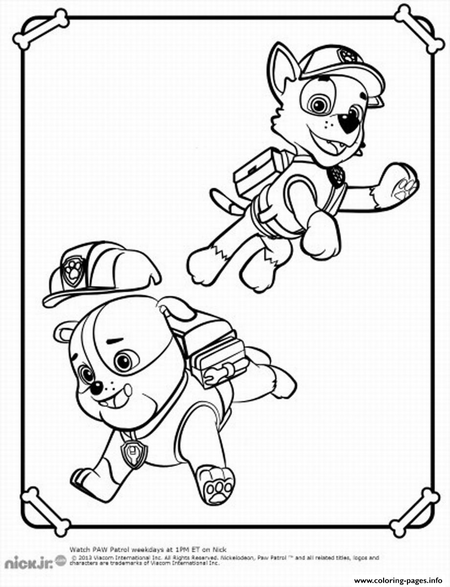 Paw Patrol Rubble Playing With Rocky coloring pages