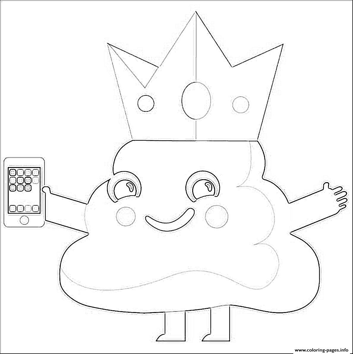 Poop Emoji King Phone coloring pages