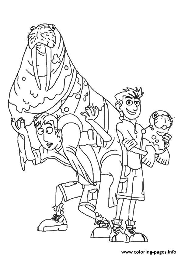 graphic relating to Wild Kratts Printable Coloring Pages called Wild Kratts Brother With A Seal Coloring Webpages Printable